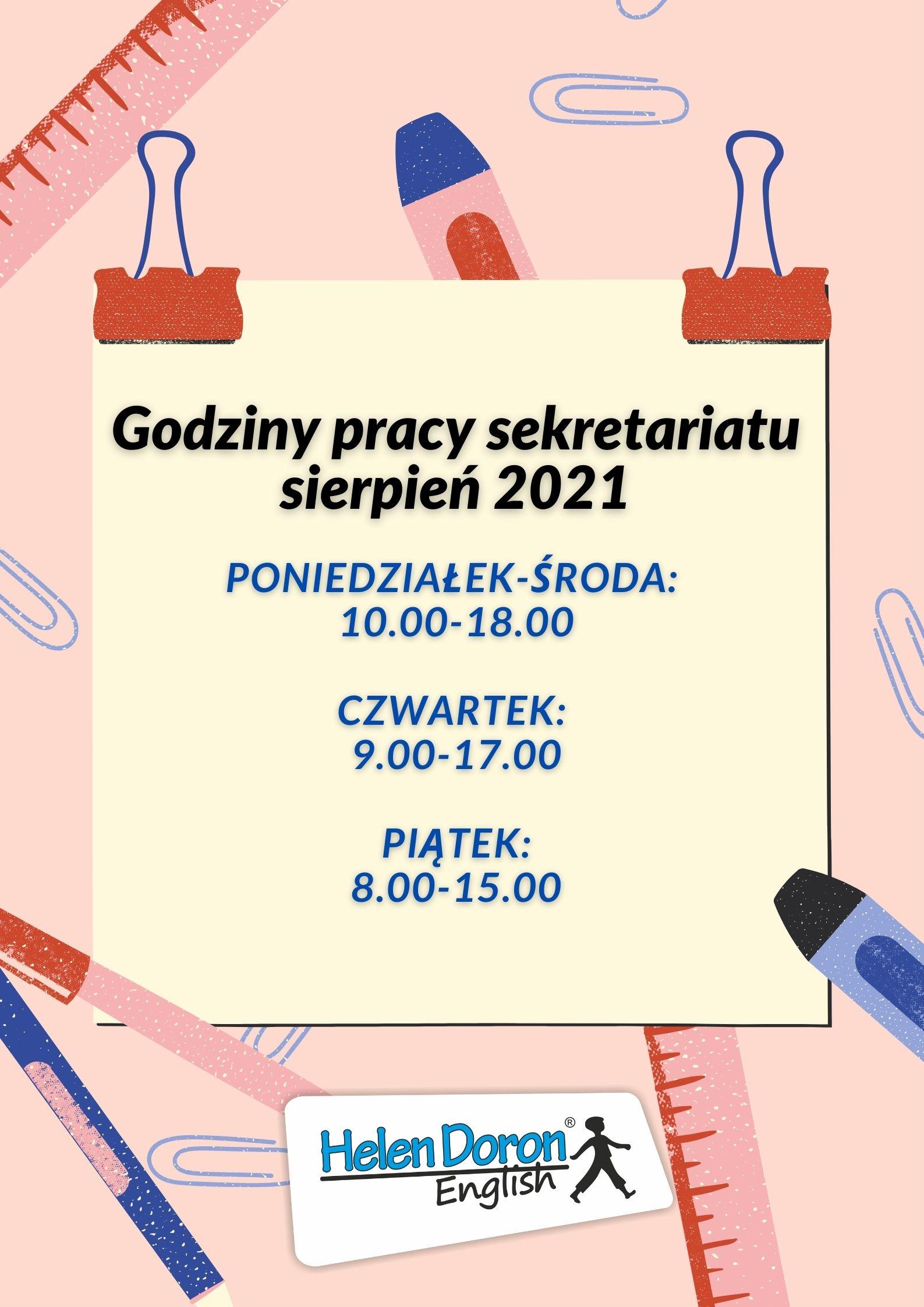 Godziny pracy sekretariatu – sierpień 2021